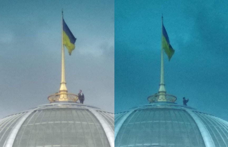 Похожий на Зеленского мужчина сделал селфи на крыше Верховной рады Украины