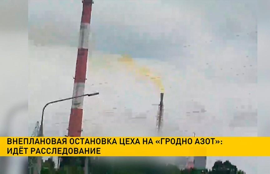 На «Гродно Азоте» прокомментировали внеплановую остановку цеха и  рыжеватый дым из трубы