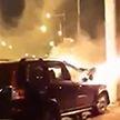 ДТП в Минске: на улице Пономаренко автомобиль врезался в столб и загорелся