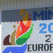 Белорус смастерил гигантское панно с символикой II Европейских игр из пяти тысяч пластиковых крышечек