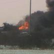 Поезд с нефтью сошел с рельсов и загорелся в Канаде