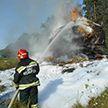Трактор с соломой сгорел на ходу посреди дороги в Гомельской области