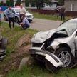 В Калинковичах в результате  ДТП Hyundai Santa Fe оказался на крыше в кювете