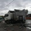 ДТП на улице Денисовской в Минске:  грузовик снес столб – остановлено движение троллейбусов