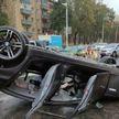 В Минске BMW выехал на встречную полосу и перевернулся